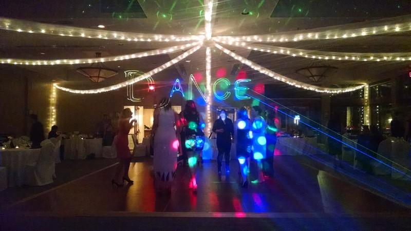 Color Laser Lighting spelling out dance