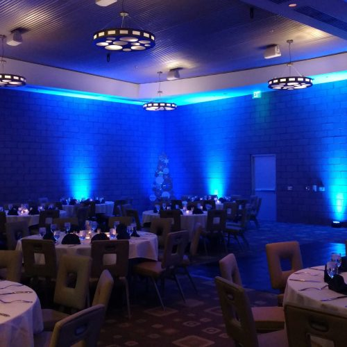Holiday party with deep blue up lighting at The Valley Ho.