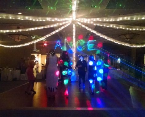 Color Laser Lighting spelling out dance